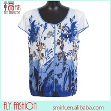 F382-1# White chiffon tops and blouses short sleeve summer floral printed middle age women blouse europe size