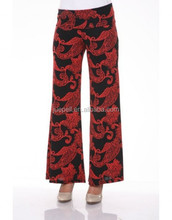 2015 Hot Sale Fashion Palazzo Pants Summer All Over Printing with Wide Leg and Hight Waist Pants
