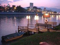 Beautiful land beside ping river at center of city close to night bazaar in Chiangmai, Thailand