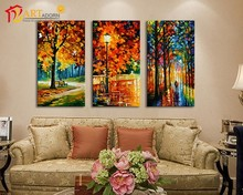 Abstract stretched canvas art oil paintings of leaves