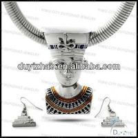 silver Nefertiti omega necklace earring set fashion ladys jewelry set