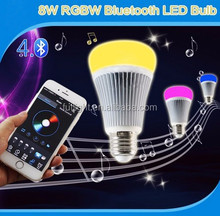 Smart Wireless 8w E27 RGB+Warm White&Cool White bluetooth music bulb