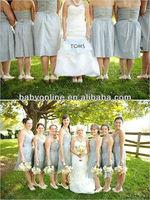 BO2088 Modern And Elegant Taffeta Sweetheart Column Knee Length Bridesmaid Dresses Light Bule Color