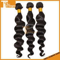 Hot Selling Beauty Lady 3pcs/ Set 16 inch 5A Grade # 1B Loose Wave Unprocessed Virgin Remy 100% Human Malaysian Hair Extension