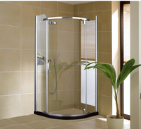 Round shower enclosure for UK market with stainless steel hardware