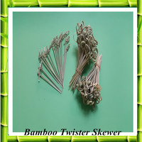 Best Selling Nonstick Heat Resist Bamboo Twister Skewer Stick For Burger/Fruit