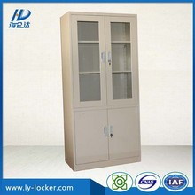 lockable steel filing cabinet with glass door for office furniture
