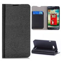 Wood Grain Flip Stand Leather Case For LG L65 D280 Dual SIM D285 With Card Slots