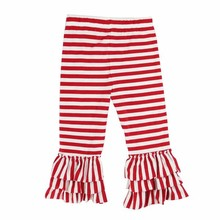 red and white stripe ruffle bottom pants