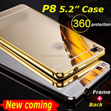 New coming P8 phone case metal frame mirror arcylic back case for huawei ascend P8 protect mobile phone case