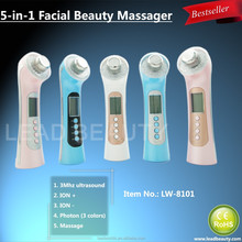 Portable supersonic facial massager beauty equipment for home use with galvanic and vibration functions