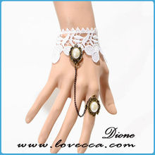 Woman Lady Fashion Stylish Artificial Pearl Decor White Wide Lace Bracelet With Ring Jewelry Set