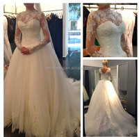 L023 2015 custom made illision neck white lace wedding dress bridal gowns robe de mariee vestido de noiva vestido de novia