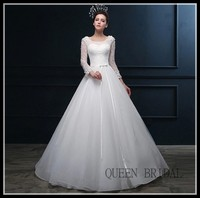 2016 Lace Long Sleeve Lace Wedding Dresses Ball Gown