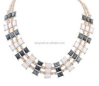 N142 Black resin necklace Yiwu statement necklace Stock wholesale online White resin necklace Free shipping Epoxy resin jewelry