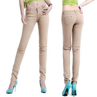 Брюки женские стрейч конфеты карандаш случайные тонкий подходят узкие джинсы