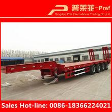 Camión remolque tipo 80 toneladas de 4 ejes lowboy bajo cama de camión semi remolque para pesada transporte gratuito