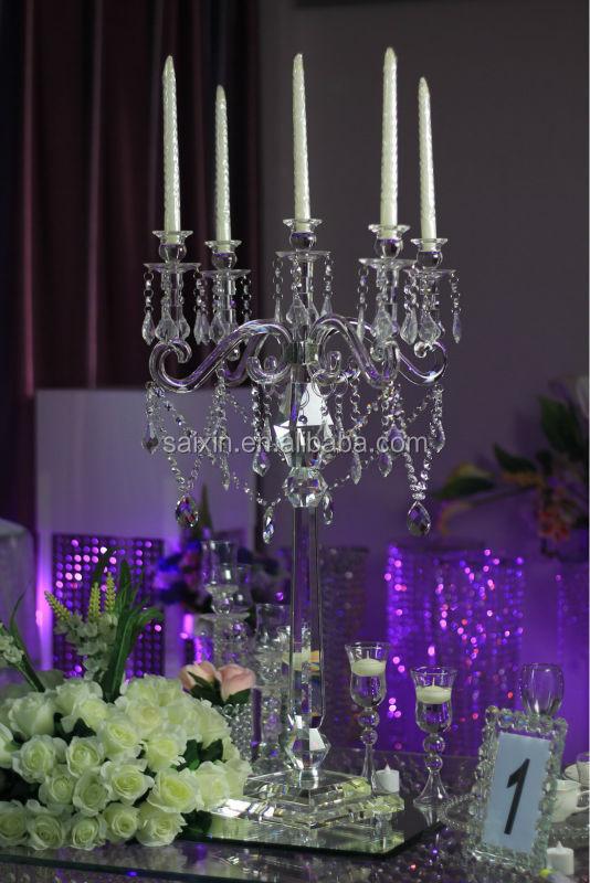 Alto cristal candelabros flores de pie para el evento decoracion ...