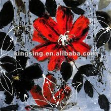 Abstract canvas oil painting of red flower picture