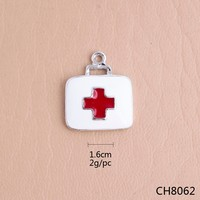2015 new design alloy red and white enamel medical alert charms wholesale