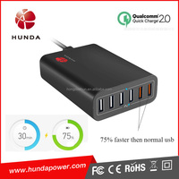 Qualcomm automatic ac plug adapter 60w intelligent ic qc 2.0 usb charger station for xperia z3 z4 tablet