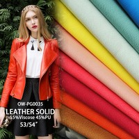 2016 fashion synthetic pu leather for garment clothing bags coat sofa solid Synthetic Leather print viscose pu leather fabric