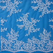 2015 elegante organza tule bordado tela do laço / spandex rendas química bordado para vestido de noiva atacado