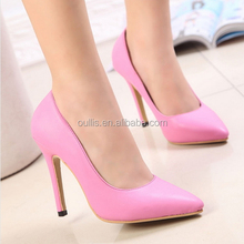 Pink and white Pointed toes high heel women pump shoes good quality Patent women high heel dress pump shoes PE3463