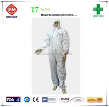 safety micropovous coverall with hood and elastic on the waist face mask shoe cover
