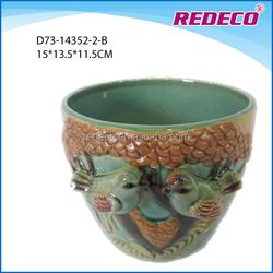 Antique ceramic cup shape garden bird planter