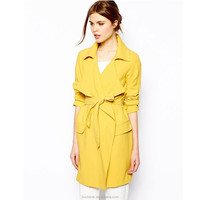 New yellow trendy woman ladies fashion long winter coats