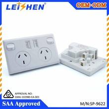 Wholesale australia 2 gang usb wall socket 240v 10A,made in china 2015 hot SAA socket