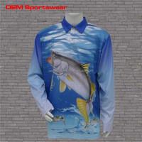 Quick dry polyester custom fishing shirts wholesale sublimated