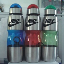 Domed lid stainless steel water bottle with plastic sleeve