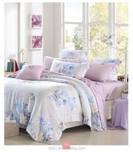 Reactive flower printed king size comforter bedding set cheap wedding colorful cheap bedding set 40s tencel luxurious bedspread