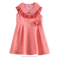 boutique fancy baby girl wool dress, new model casual wool clothing children, knitting wool frocks for kids 4-15 years olds