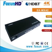 High Quality of the Shunxun Ultra HD 4KX2K 4x2 HDMI matrix support ARC & 3D & HDCP & IR control