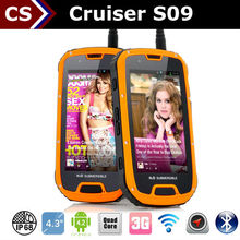 Cruiser S09 IP67 Quad Core Android 4.2 3G Dual card Walkie-Talkie 8.0M Camera 4.3inch GPS waterproof android NFC phone