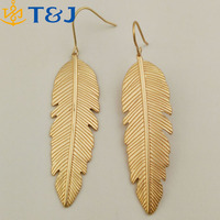 <<2015 new fashion women alloy gold silver plated chandelier earring personality vintage leaf drop earring/