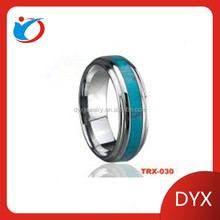 2014 Fashion wedding ring / inlay turquoise tungsten ring
