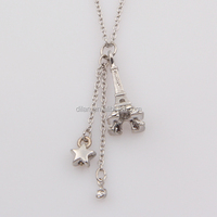 3D jewelry design alloy zinc metal base imitation silver tone decorative metal star fake gemstones eiffel tower pendant necklace