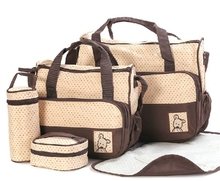 5pcs Messenger Style Baby Diaper Bag 5in1 Set Nappy Changing Fashion Bags
