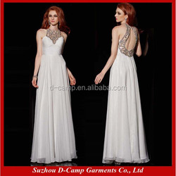 OC-2224 Crystal high neck flowing long indian evening gowns famous modern evening dress gowns designers
