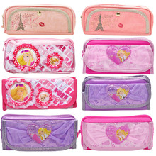 Custom promotion pencil cases for kids ,barbie princess pencil case for girls NBCU sedex manufacturer