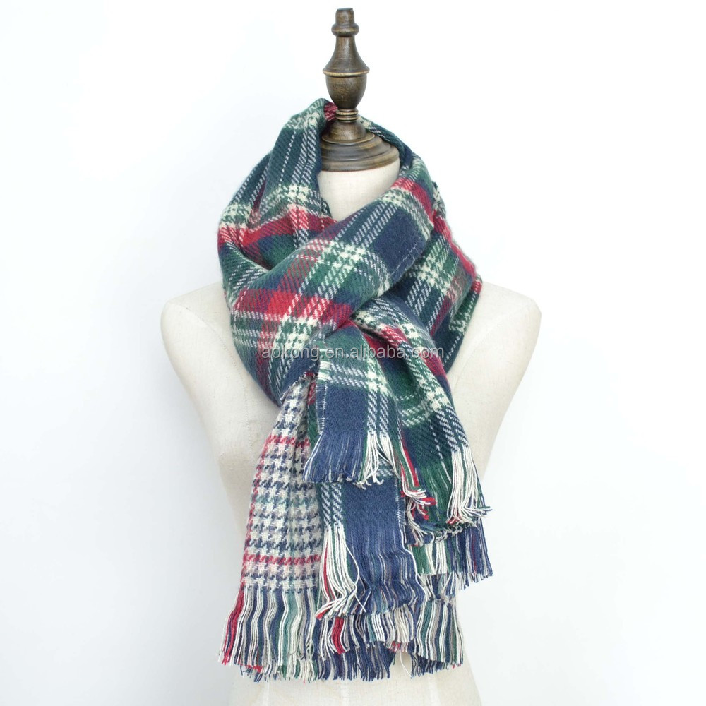 Knitting Pattern Tartan Scarf : Blue and red color knit 2015 tartan plaid scarf, View 2015 tartan plaid scarf...