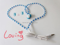 Colorful pearls in ear stero earphone with silicone rubber cover