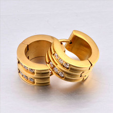 Yiwu Aceon Stainless Steel two lines prong setting men's hoop earring china alibaba