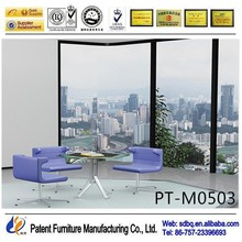 PT-M0503 WorkWell office furniture supply standard high gloss office glass desk with metal legs side table good quality
