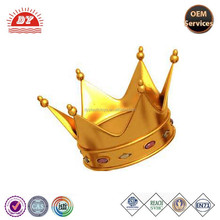 Custom plastic gold king crown, beautiful crown for kids from ICTI factory