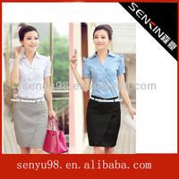 TOP sell summer work wear uniform female short sleeve skirt elegant lady office uniform